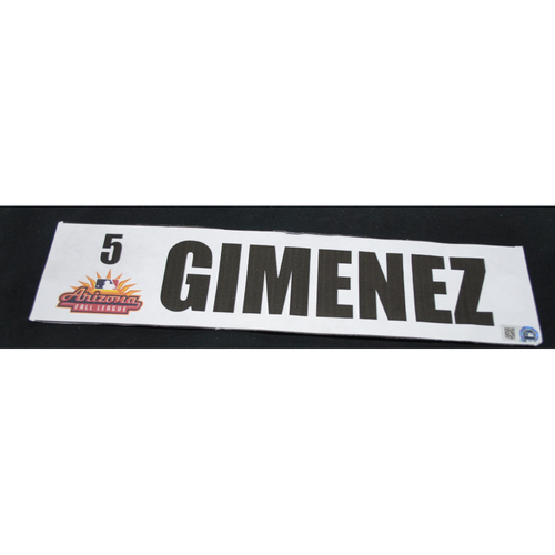 Photo of Arizona Fall League - Game-Used Locker Tag - Andres Gimenez (NYM), Jersey Number: 5