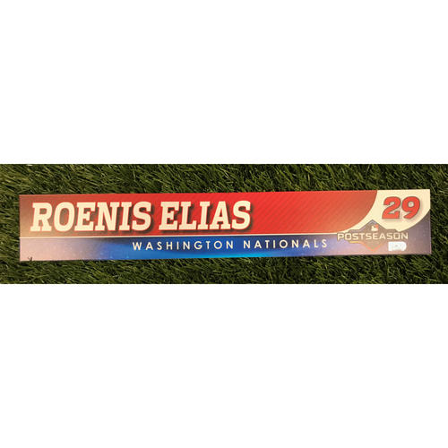 Photo of Game-Used Roenis Elias 2019 Postseason Locker Tag