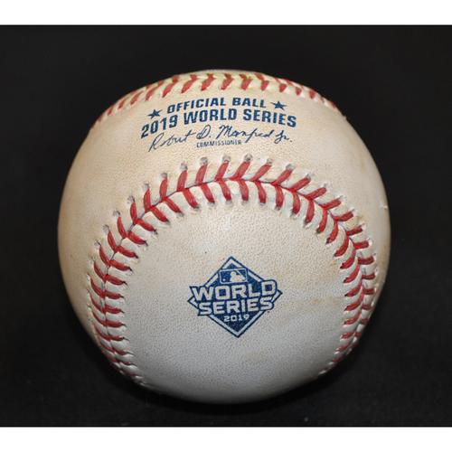 Photo of Game-Used Baseball - 2019 World Series - Washington Nationals vs. Houston Astros - Batter - Jose Altuve, Pitcher - Patrick Corbin - Top 3 - Groundout to 3rd - Game 4 - 10/24/2019