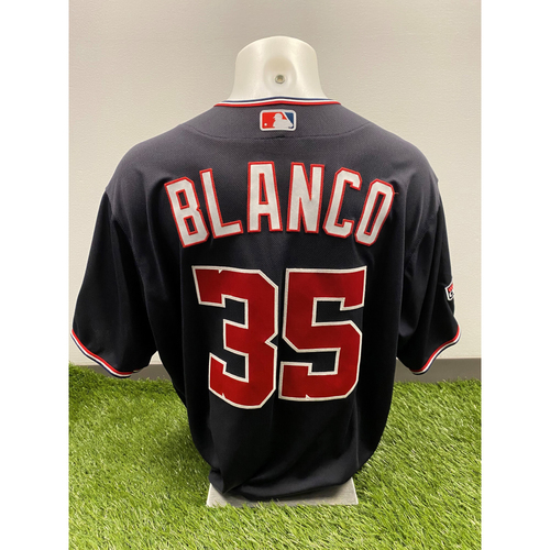Photo of Henry Blanco 2020 Game-Used World Series Champions Navy Script Jersey