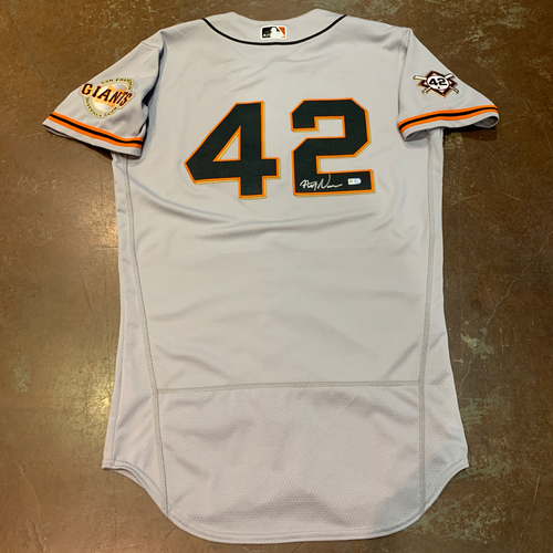 Photo of 2021 Autographed Game Used Jackie Robinson 42 Day Road Jersey worn by #92 (42) Alyssa Nakken on 4/16 @ MIA  - Size 40
