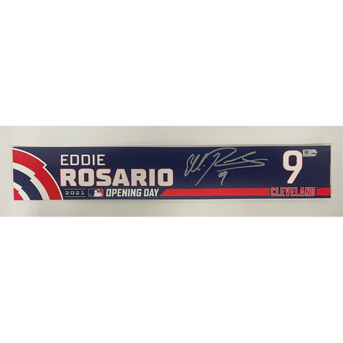 Photo of Game Used Locker Name Plate - Opening Day 4/5/2021 - Eddie Rosario #9 - Autographed