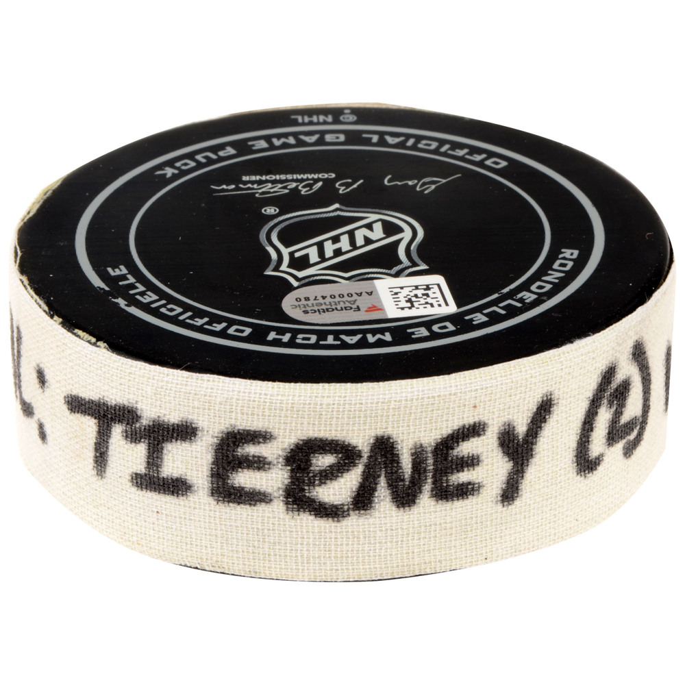Chris Tierney San Jose Sharks Game-Used Goal Puck from November 29, 2016 vs. Arizona Coyotes