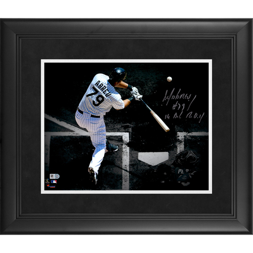 "Photo of Jose Abreu Chicago White Sox Framed Autographed 11"" x 14"" Spotlight Photo with 14 A.L. R.O.Y. Inscription"