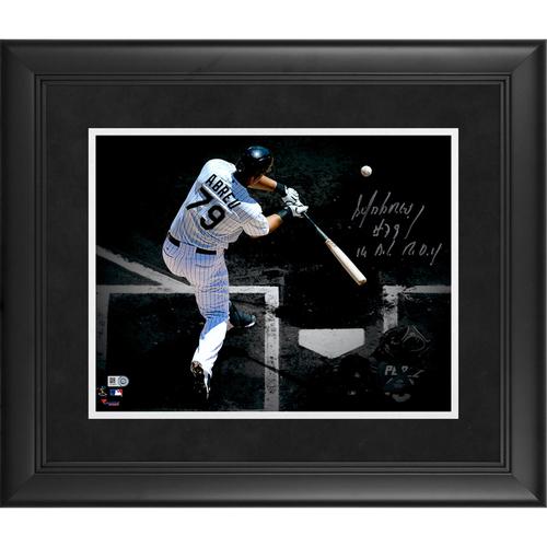 "Photo of Jose Abreu Chicago White Sox Framed Autographed 11"" x 14"" Spotlight Photo with 14 A.L. R.O.Y. Inscription"