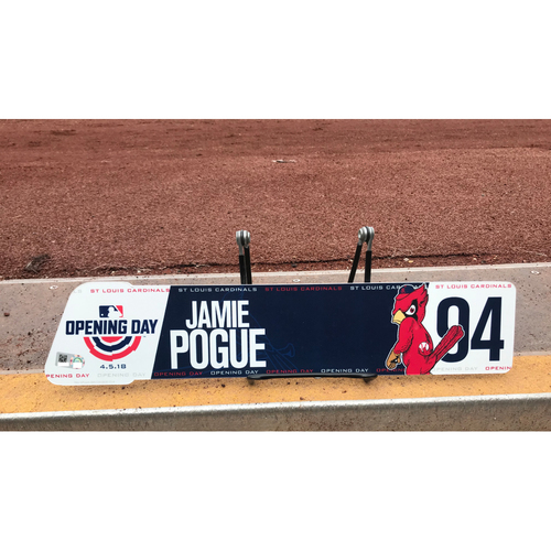 Photo of Cardinals Authentics: Game-Used Jamie Pogue 2018 Opening Day Locker Tag