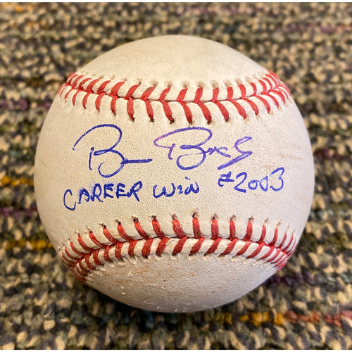 "Photo of 2019 Autographed Game Used Baseball signed by #15 Bruce Bochy inscribed ""Career Win #2,003"" used on 9/26 vs. COL - B:3 Kyle Freeland to Kevin Pillar - Foul Ball"