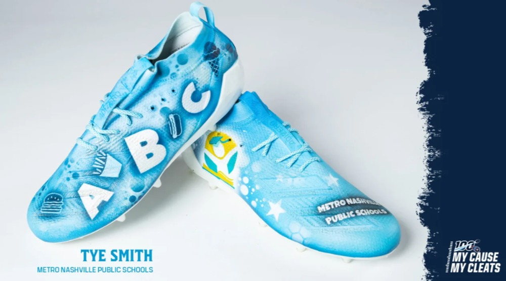 My Cause My Cleats -  Titans Tye Smith custom cleats - supporting  Metro Nashville Public Schools