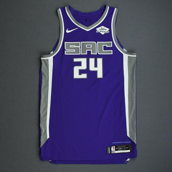 Image of Buddy Hield - Sacramento Kings - Kia NBA Tip-Off 2019 - Game-Worn Icon Edition Jersey - Scored Game-High 28 Points