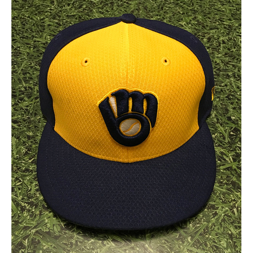 Photo of Christian Yelich 2019 Team-Issued Navy Ball&Glove Batting Practice Cap