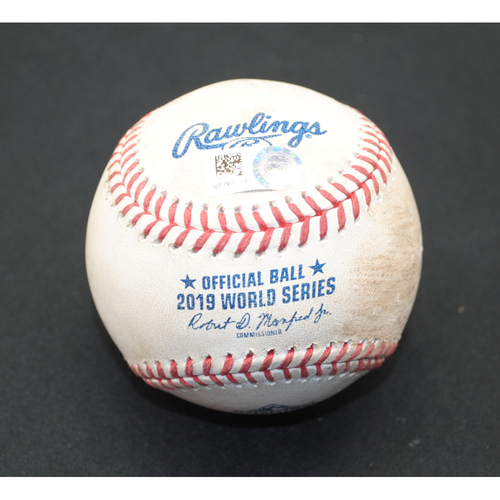 Photo of Game-Used Baseball - 2019 World Series - Washington Nationals vs. Houston Astros - Batter - Kyle Tucker/George Springer, Pitcher - Daniel Hudson - Top 9 - Strikeout/Ball in Dirt - Game 5 - 10/27/2019