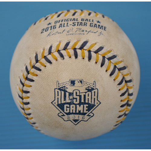 Photo of Game-Used Baseball - 2016 All-Star Game - Pitcher - Kelvin Herrera, Batter - Jay Bruce - Strikeout - Top of 6