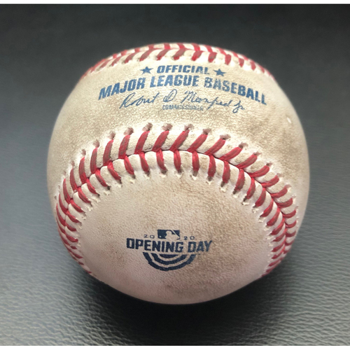 Photo of Game-Used Baseball-2020 Opening Day: Pitcher: Taijuan Walker, Batter: Sean Murphy (Strikeout); Tony Kemp (Walks); Marcus Semien (Foul Ball) --  Top 3 (OAK @ SEA -7/31/2020)