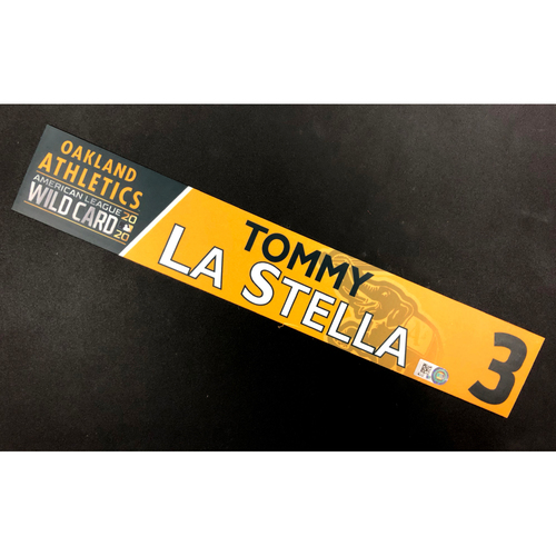 Photo of Game-Used 2020 AL Wild Card Locker Nameplate - Tommy La Stella