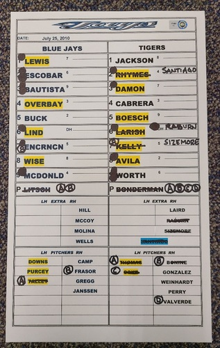 Photo of Authenticated Game Used Lineup Card (July 25, 2010 at DET - Game 2): 27th HR of Season for Jose Bautista (Franchise Record 54 HR Season)