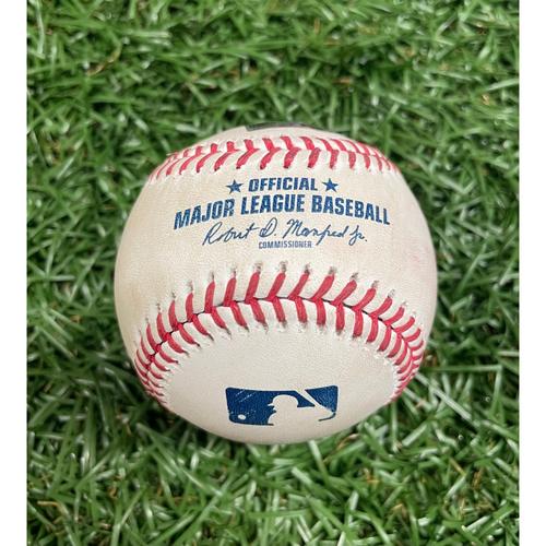 Photo of Game Used Baseball: Joey Wendle strikeout and Brett Phillips RBI single off Jose Quijada - Austin Meadows and Ji-Man Choi Score - Bottom 7 - June 26, 2021 v LAA