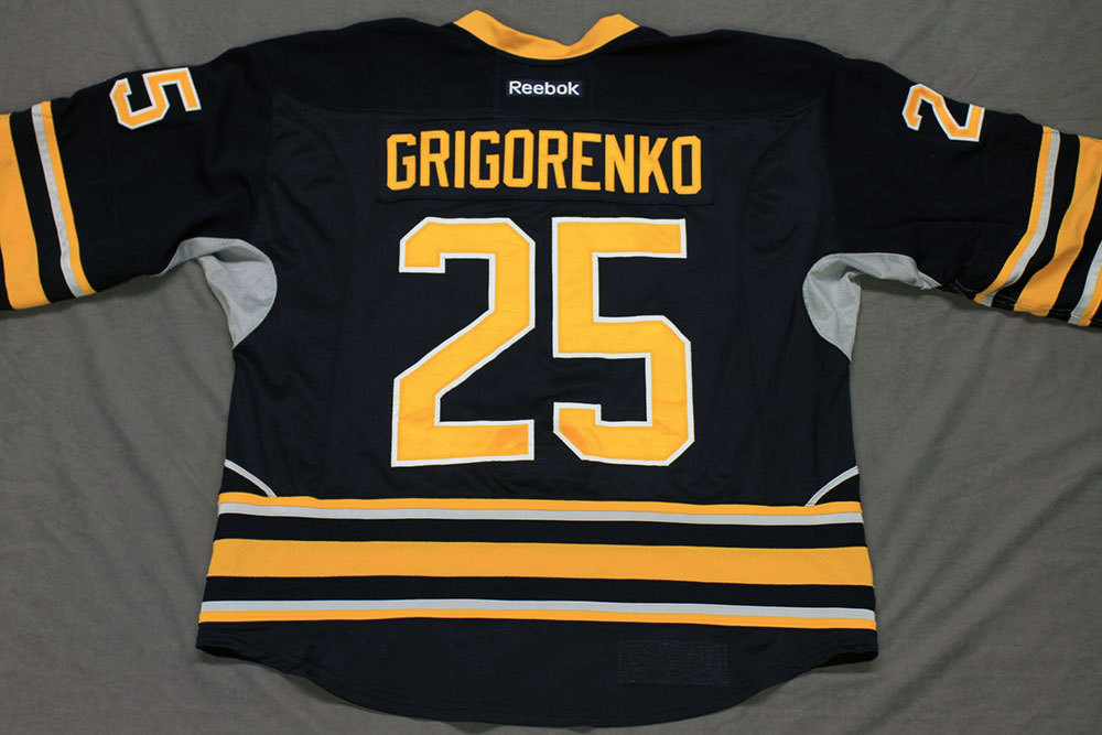 Mikhail Grigorenko Game Worn Buffalo Sabres Home Jersey.  Serial: 1013-1. Set 1 - Size 56.  2013-14 season.