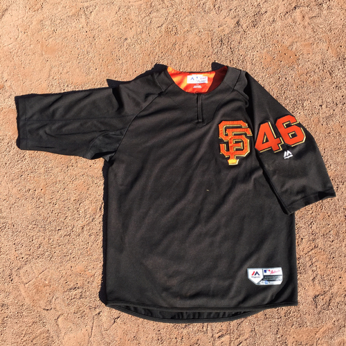 San Francisco Giants - 2017 Game-Used Batting Practice Jersey Worn by #46 Orlando Calixte (Size: L)