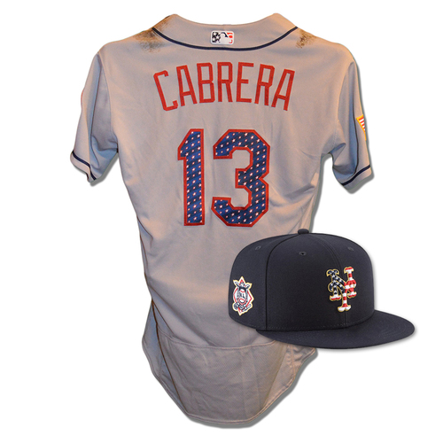 Photo of Asdrubal Cabrera #13 - Game Used 4th of July Jersey and Hat - Cabrera Goes 2-4, RBI - Mets vs. Blue Jays - 7/4/18
