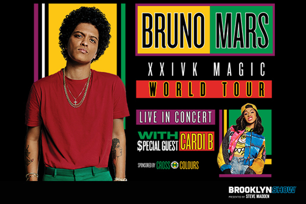 Clickable image to visit Two Premium Tickets for Bruno Mars at Barclays Center, Plus Dinner and Hotel Stay