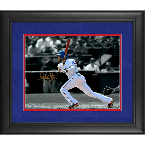 "Photo of Elvis Andrus Texas Rangers Deluxe Framed Autographed 11"" x 14"" Spotlight Photo"