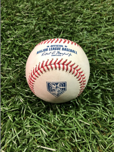 Photo of 20th Anniversary Game Used Baseball: Ryne Stanek strikes out Rowdy Tellez - September 30, 2018 v TOR