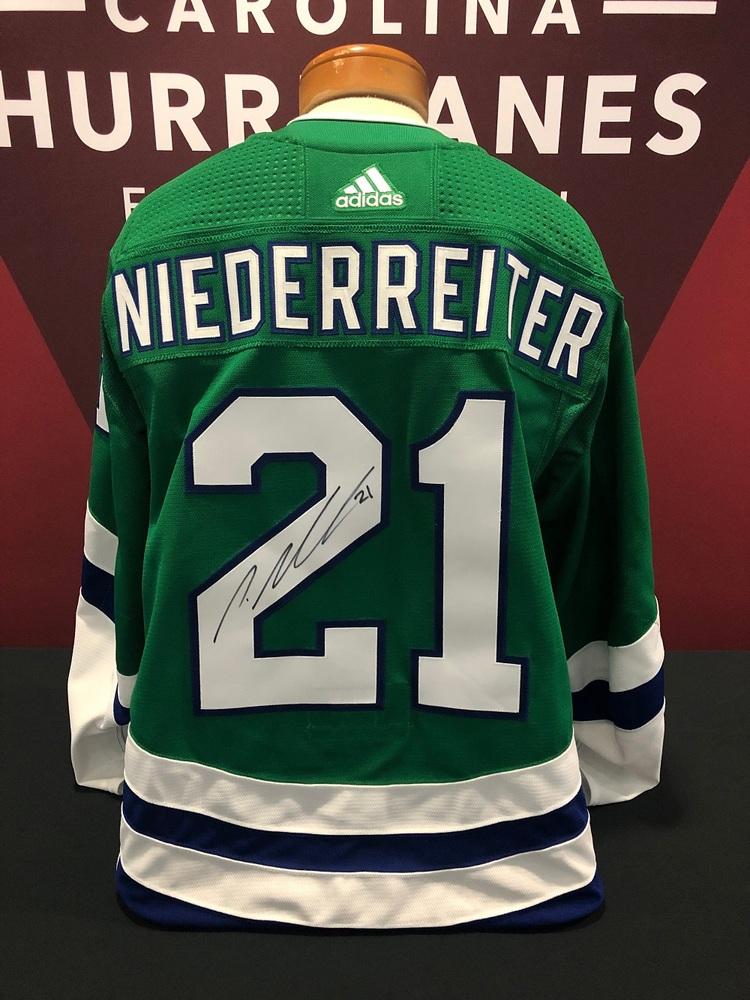 Nino Niederreiter #21 Autographed, Game Worn Hartford Whalers Jersey - Worn March 5, 2019