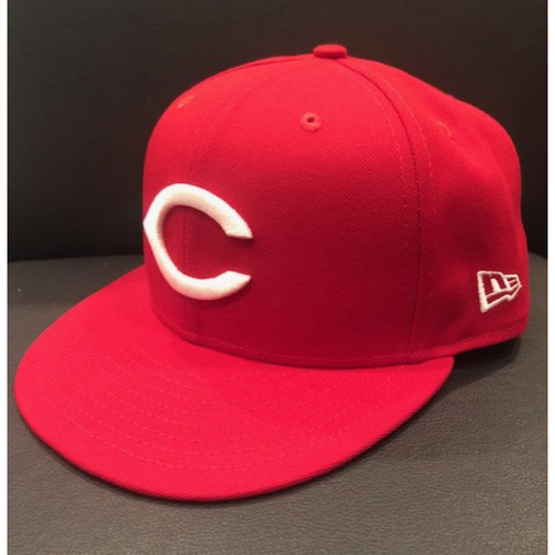 Photo of Yasiel Puig -- 1967 Throwback Cap (Final Reds Throwback Worn Before Being Traded - Starting RF) -- Game Used for Rockies vs. Reds on July 28, 2019 -- Cap Size: 7 5/8