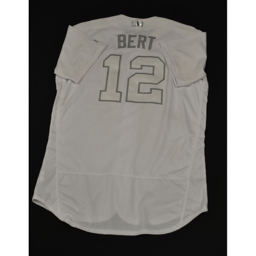 "Photo of Curt ""BERT"" Casali Cincinnati Reds Game-Used 2019 Players' Weekend Jersey"