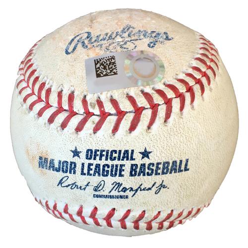 Minnesota Twins Game-Used Postseason Baseball: Pitcher: Jake Odorizzi, Batters: Giancarlo Stanton (Single), Gleyber Torres (Foul) - Top 4 - ALDS Game 3 vs. NYY