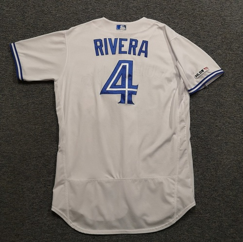 Photo of Authenticated Game Used Jersey - #4 Luis Rivera (Mar 28, 19: Opening Day). Size 46.