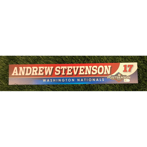 Photo of Game-Used Andrew Stevenson 2019 Postseason Locker Tag