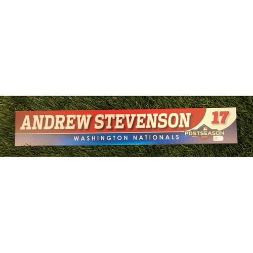 Photo of Game-Used Andrew Stevenson 2019 Postseason Locker Tag