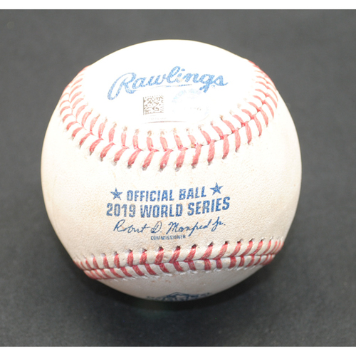 Photo of Game-Used Baseball - 2019 World Series - Washington Nationals vs. Houston Astros - Batter - Howie Kendrick, Pitcher - Gerrit Cole - Bottom 4 - Foul - Game 5 - 10/27/2019