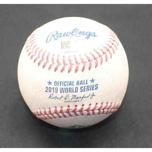 Photo of Game-Used Baseball - 2019 World Series - Washington Nationals vs. Houston Astros - Batter - Howie Kendrick, Pitcher - Gerrit Cole - Bottom 4 - Foul - Game 5 - 10/27/2019