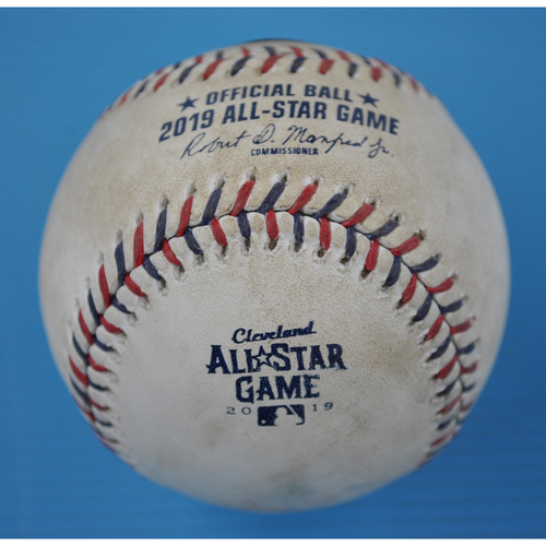 Photo of Game-Used Baseball - 2019 All-Star Game - Pitcher - Hyun-Jin Ryu, Batters - DJ LeMahieu/Mike Trout - Groundout/Groundout - Bottom 1