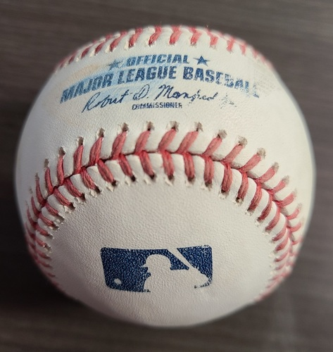 Photo of Authenticated Game Used Baseball: Foul by Cedric Mullins against Ryan Borucki (Aug 29, 20 vs BAL). Top 7. Game played in Buffalo.