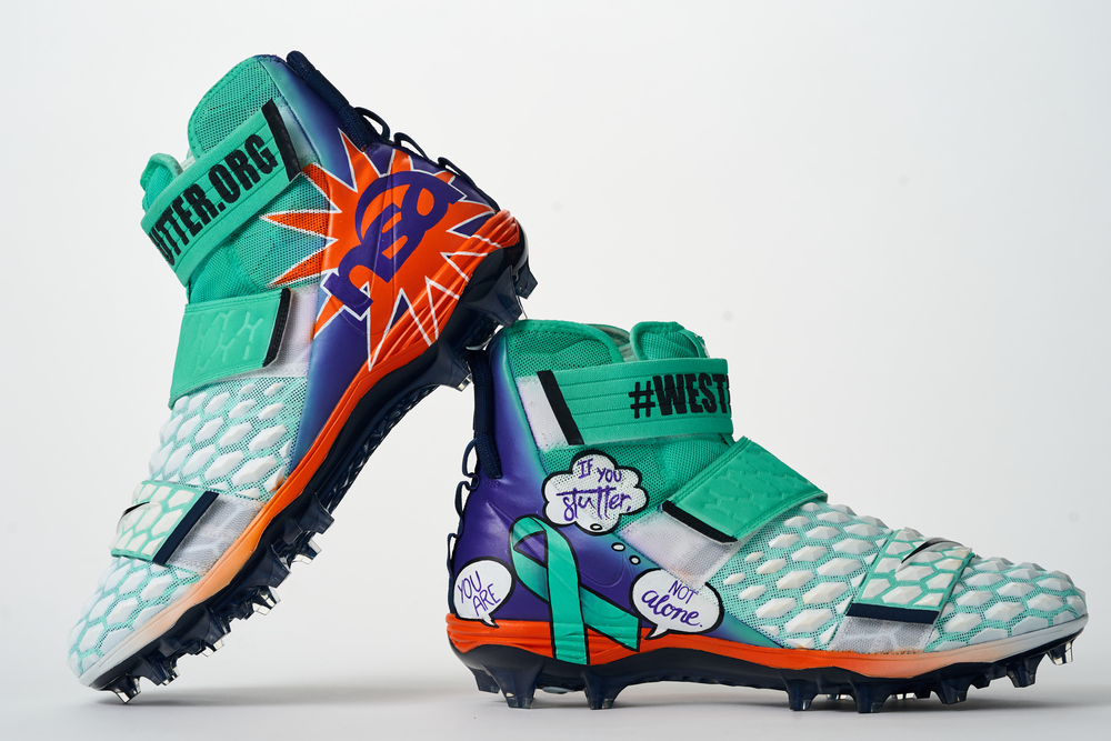 My Cause My Cleats - Seahawks Brandon Shell custom cleats - supporting National Stuttering Association