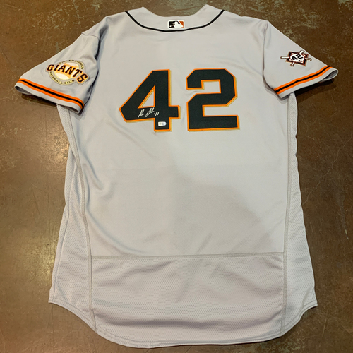 Photo of 2021 Autographed Game Used Jackie Robinson 42 Day Road Jersey worn by #41 (42) Wilmer Flores on 4/16 @ MIA - Size 46