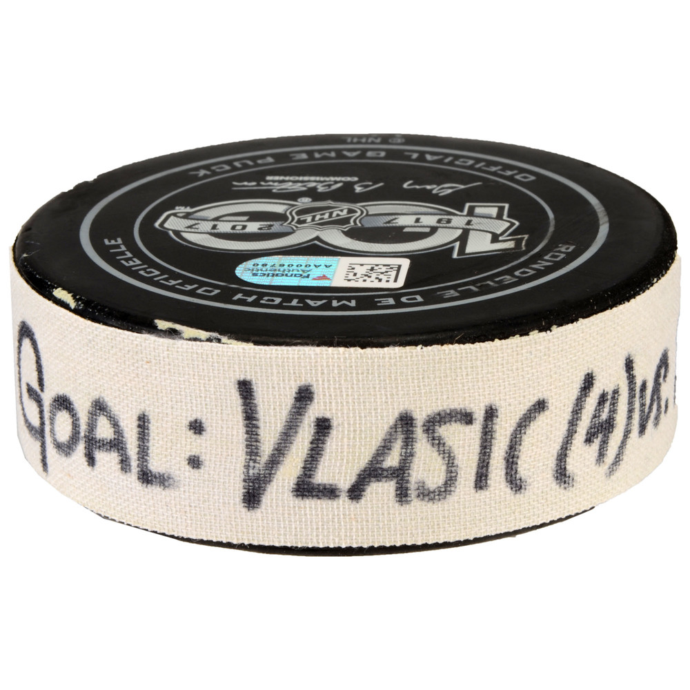Marc-Edouard Vlasic San Jose Sharks Game-Used Goal Puck from February 15, 2017 vs. Florida Panthers