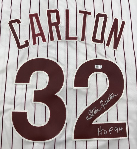 "Photo of Steve Carlton ""HOF 94"" Autographed White Phillies Jersey"