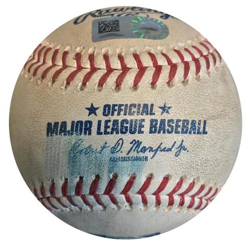 Photo of Game-Used Baseball from Pirates vs. Cardinals on 4/28/18 - Yadier Molina Foul