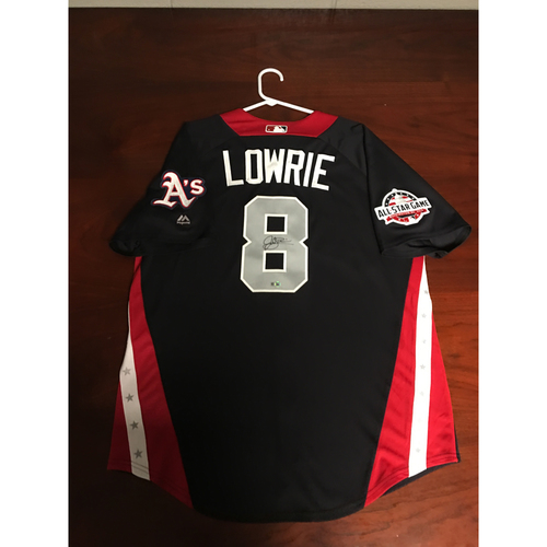 Photo of Jed Lowrie 2018 Major League Baseball Workout Day Autographed Jersey