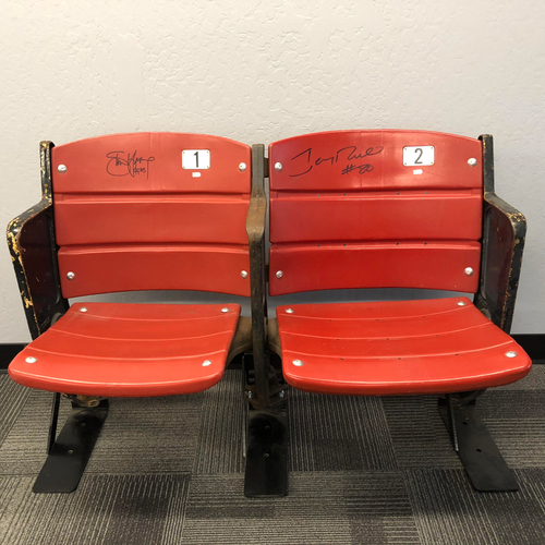 Photo of Candlestick Park Stadium Artifact - Pair of Candlestick Park Seats Signed by #8 Steve Young & #80 Jerry Rice - LOCAL PICK UP ONLY
