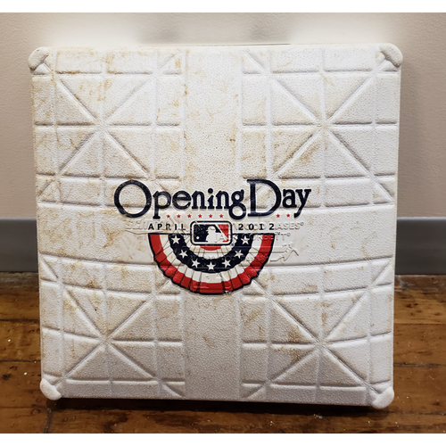 Photo of Game-Used Opening Day Base: Oakland Athletics at Seattle Mariners - 1st Base Used through Bottom of 6th to End of Game - 4/13/12