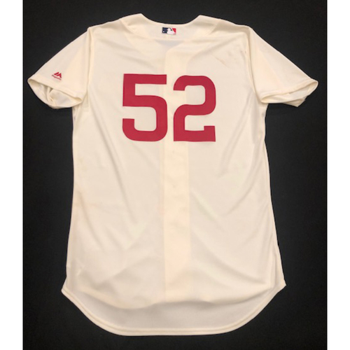 Photo of Kyle Farmer -- Game-Used 1936 Throwback Jersey (Pinch-Hitter: Went 1-for-1, RBI, R) -- Cubs vs. Reds on June 30, 2019 -- Jersey Size 44