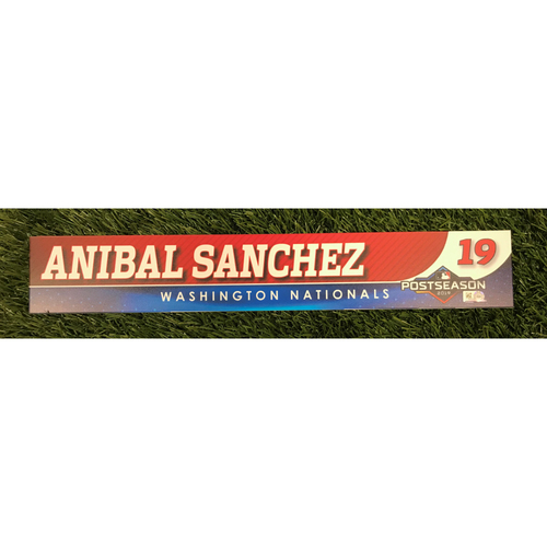 Photo of Game-Used Anibal Sanchez 2019 Postseason Locker Tag