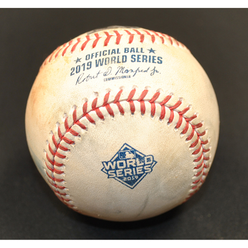 Photo of Game-Used Baseball - 2019 World Series - Washington Nationals vs. Houston Astros - Batter - Asdrubal Cabrera, Pitcher - Justin Verlander - Top 2 - Foul - Game 6 - 10/29/2019