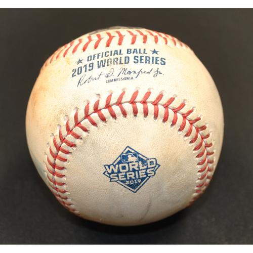 Photo of Game-Used Baseball - 2019 World Series - Washington Nationals vs. Houston Astros - Batter - Asdrubal Cabrera, Pitcher - Justin Verlander - Top 2 - Foul - Game 6 - 10/29/2019