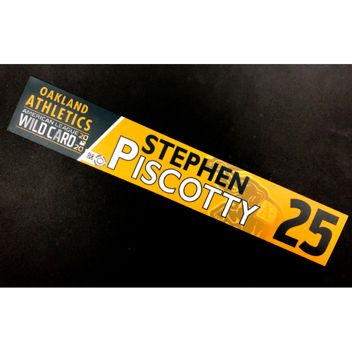 Photo of Game-Used 2020 AL Wild Card Locker Nameplate - Stephen Piscotty
